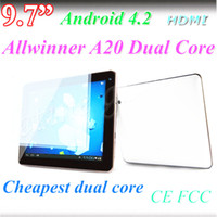 Günstige 9.7 Zoll Allwinner A20 Tablet PC Bluetooth HDMI Dual-Core-Dual-Kamera 1024 * 768 1G / 8G Android 4.2 kapazitive Screen-Tablet-PC