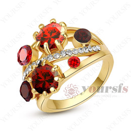 Wholesale Unique Weddings Rings - Yoursfs Unique Design Gorgeous Big Sapphire Fashion Ring 18K Rose Gold Plated Use Red Austria Crystal Wedding Party Rings Luxury Jewelry