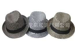 Wholesale Wholesale Small Straw Hat - Classic Check Straw Fedora Hat Men Cap Unisex Fashion Hats British Style Adult Fedora Women Small Brim Cap Women Hats Men Jazz Caps