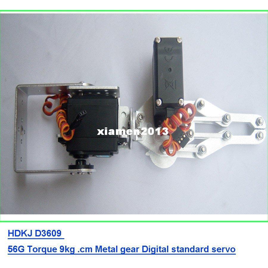 F03992-A 2 DOF Alumínio Robô Arm Clamp Claw Mount kit + 2 HDKJ D3609 9 KG de metal Gear servo Digital para Arduino + Freeship