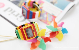 Rainbow Glasses Plastic NZ - 50pcs lot Lego SHHORS Digital Watch Night Light LED Waterproof Plastic Jelly Unisex building block Rainbow Watches free shipping via DHL