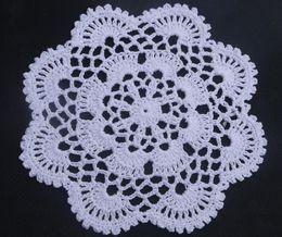 Fazer tapetes de mesa on-line-Atacado 100% algodão feito à mão crochê doily rendas mat copo tapete vaso, russa 16x16 cm customização tapete de tabela 20 PÇS / LOTE