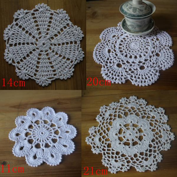 wholesale Crocheted Doilies 100% hand made crochet doily table cloth ,4 designs 11 colors custom , cup mat round 10-21cm 40PCS/LOT
