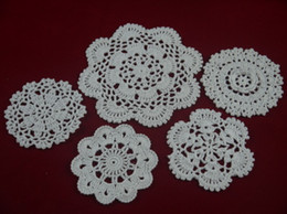 $enCountryForm.capitalKeyWord Canada - wholesale 100% hand made crochet doily table cloth 5 designs 11 colors custom , cup mat round 10-16cm 25PCS LOT