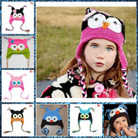 Wholesale owl earflap hat - Top baby Owl EarFlap Crochet Hat Baby Handmade Crochet Hat Handmade OWL Beanie Knitted hat kungfuboy