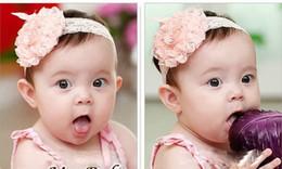 Wholesale Headbands Free Ems - 50pcs Baby girl crochet flower hair bow flower lace headbands Pink hair band hairlace hairbow headban free shipping by EMS
