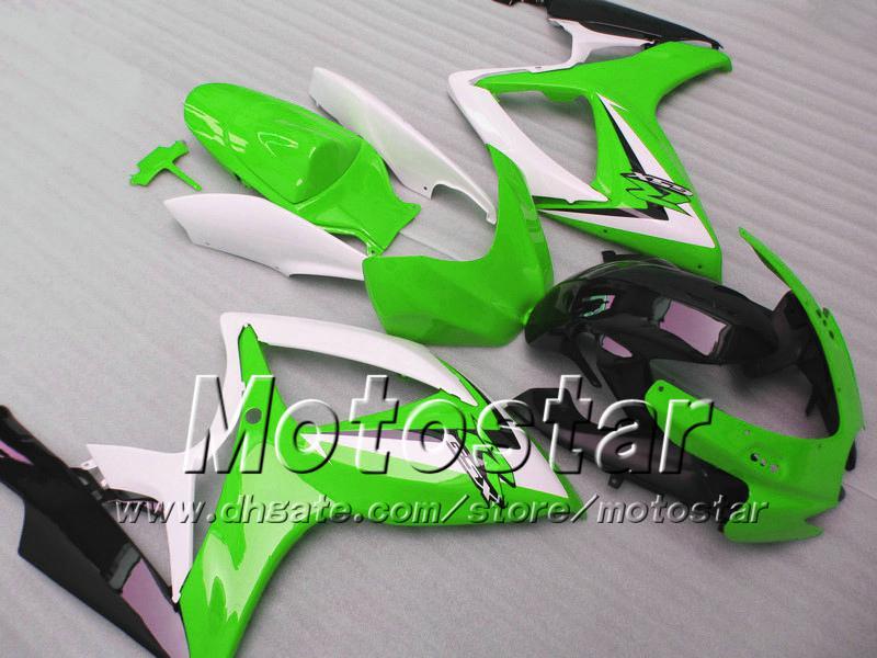 Carenados de inyección para SUZUKI 2006 2007 GSXR 600 750 K6 GSXR600 GSXR750 06 07 R600 R750 blanco verde negro kit de carenado WW4