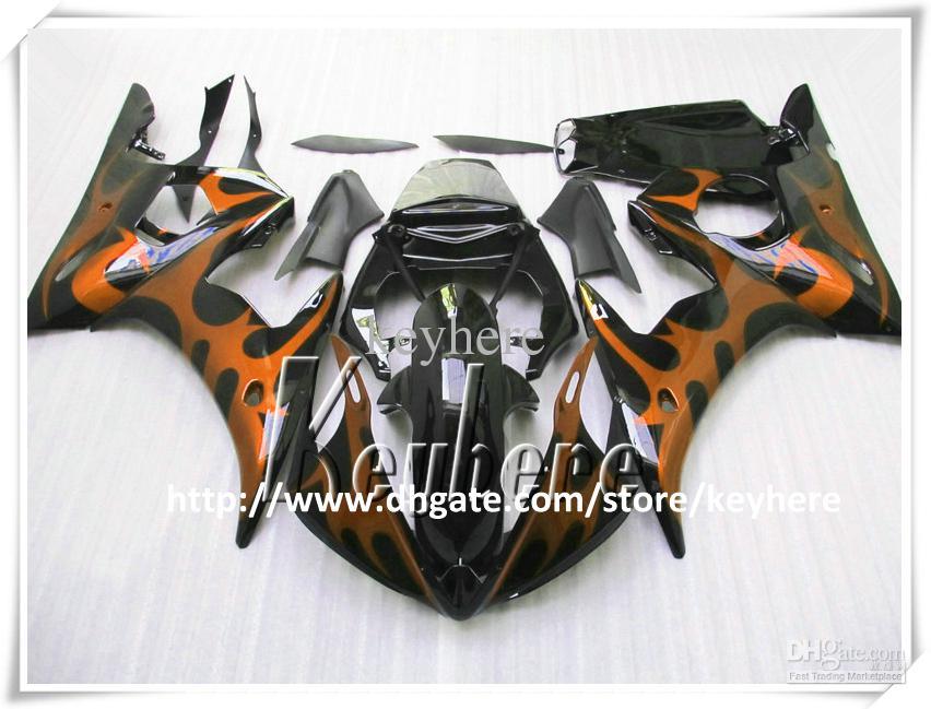 Gratuito 7 regali Kit carena personalizzata YAMAHA YZF R6 2003 2004 YZFR6 03 04 YZF600R Carene YZF-R6 G8s fiamme gialle kit corpo nero moto