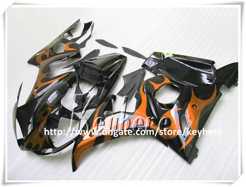 Grátis 7 presentes Kit de carenagem personalizada para YAMAHA YZF R6 2003 2004 YZFR6 03 04 YZF600R YZF-R6 carenagens G8s amarelo chamas corpo da motocicleta kit preto