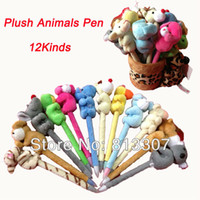 Wholesale Wholesale Gifts For Students - Cartoon Animal Pen New Cute Plush Animals Style Ballpoint Pen For Kids Students Children Christmas Gifts