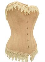 ingrosso corsetti gialli bustiers-il trasporto libero sexy del merletto giallo su indietro raso corsetto della biancheria / G-stringa S-2XL