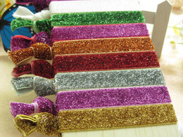 Wholesale Glitter Hair Ties - baby girls hair band FOE Fold Over Glitter Velvet Elastic Hair Tie Wristbands Ponytail Holder loop hair accessories 100pcs lot