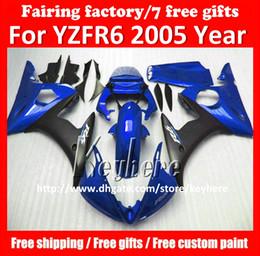 Wholesale motorcycle plastic yamaha r6 - Free 7 gifts Custom plastic fairing kit for YAMAHA YZFR6 2005 YZF R6 YZF-R6 YZF600R 05 fairings G9o hot sale blue black motorcycle body kit