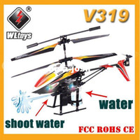 Wholesale Rc Shoot - Free Shipping 3.5CH Fountain Shoot Bladez Water Blaster WL V319 RC Helicopter Gyro Infrared Control
