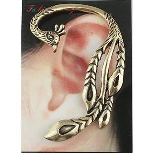 orecchino del polsino dell'orecchio di Phoenix del punk del pavone dell'annata del regalo di natale Nuovo arrivo donne del bronzo /