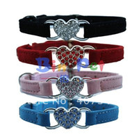 Wholesale Cat Collars Bling - Free Shipping! Wholesale MOQ 12 pcs Bling Heart Cat Collar