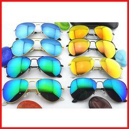 Wholesale White Glass Film - 10PCS High Quality Color film lenses Mirror sunglasses Unisex sunglasses mens sun glasses Woman glasses Glass Lens With box glitter2009
