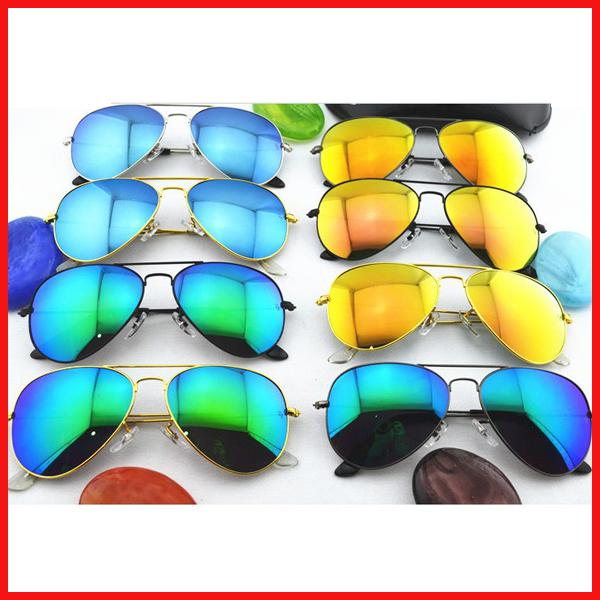10PCS High Quality Color film lenses Mirror sunglasses Unisex sunglasses mens sun glasses Woman glasses Glass Lens With box glitter2009