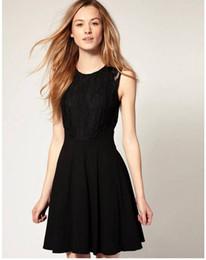 8864ddaae6 Black Knee Length Skater Dress Canada - wholesale-2013Free Shipping SCOOP  NECK LACE INSERT ZIPPER