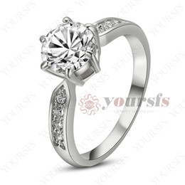 Yoursfs Hot Sale Free Shipping Wedding 18 K White Gold Plated Use Austria  Crystal 2CT Emulational Diamond Engagement Bride Ring R185W1