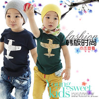 Wholesale Planes Shirts - 2013 Summer Boys New Clothes Children Fashion Tees Shirts Short Sleeved Cotton Plane Printing T Shirts Green Blue Age 3-8Yrs 8751