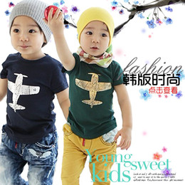 Barato Calções Azuis Dos Meninos-2013 Summer Boys New Clothes Children Fashion Tees Camisas de manga curta Cotton Plane Printing T Shirts Green Blue Age 3-8Yrs 8751