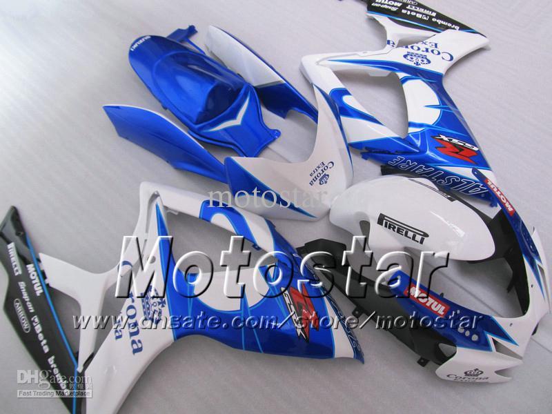 Corpo dei carenti di stampaggio ad iniezione Suzuki 2006 2007 GSXR 600 750 K6 GSXR600 GSXR750 06 07 R600 R750 BLU BLU BLU BLU BACONA FIURING WW56