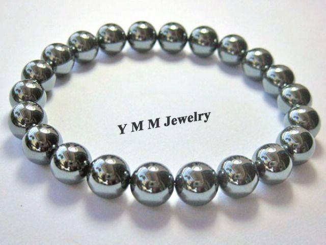Femmes Bracelet Noir 8mm Hématite Perles Bracelets Extensible En Gros