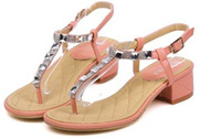 Wholesale Heel Sandals Online - Online Lady Shoes Sandals For Women T Type Strap Flattie Style Beige Pink 2Colors New Style Free Shipping 0702A5