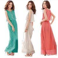 Wholesale Dress Bohenmia - Women's Bohenmia Pleated Wave Lace Strap Princess Chiffon Maxi long dress Four Colours Sleeveless fashion women Bohenmia dress Beach dress