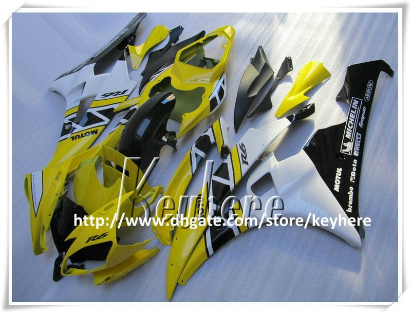 Grátis 7 presentes Kit de carenagem de corrida personalizado para YAMAHA YZFR6 2006 2007 YZF R6 YZF600R 06 07 carenagens g1p novo amarelo preto branco da motocicleta carroceria