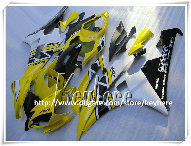 Gratis 7 geschenken Custom Race Fairing Kit voor Yamaha YZFR6 2006 2007 YZF R6 YZF600R 06 07 FIERINGS G1P Nieuwe Geel Zwart Wit Motorfiets Carrosserie