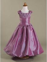 Wholesale Sz Girls Dress Purple - Chritmas Lovely Purple Taffeta Straps Flower Girls' Dresses Girls' Formal Dress Pageant Dresses Holiday Dresses Custom SZ 2-12 DF703039