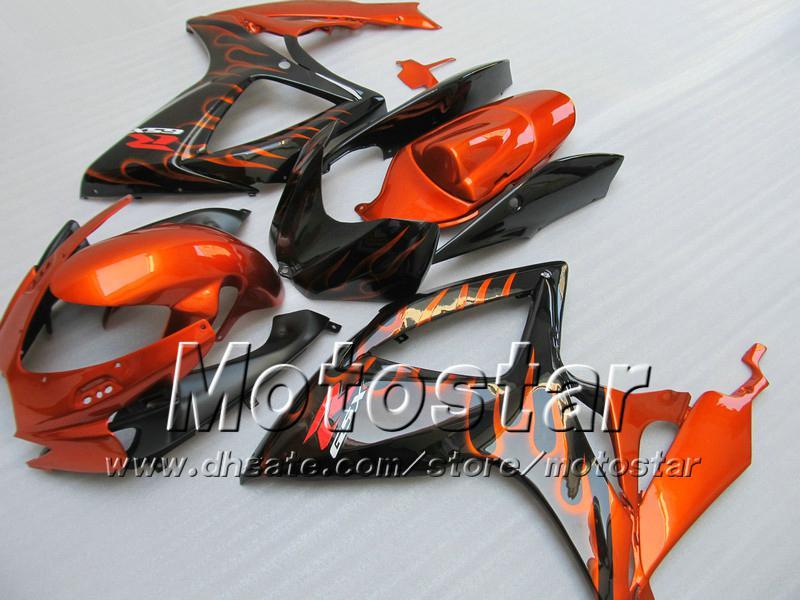 Corps de carénage injection pour SUZUKI 2006 2007 GSXR 600 750 K6 GSXR600 GSXR750 06 07 R600 R750 flamme en carénage noir WW94