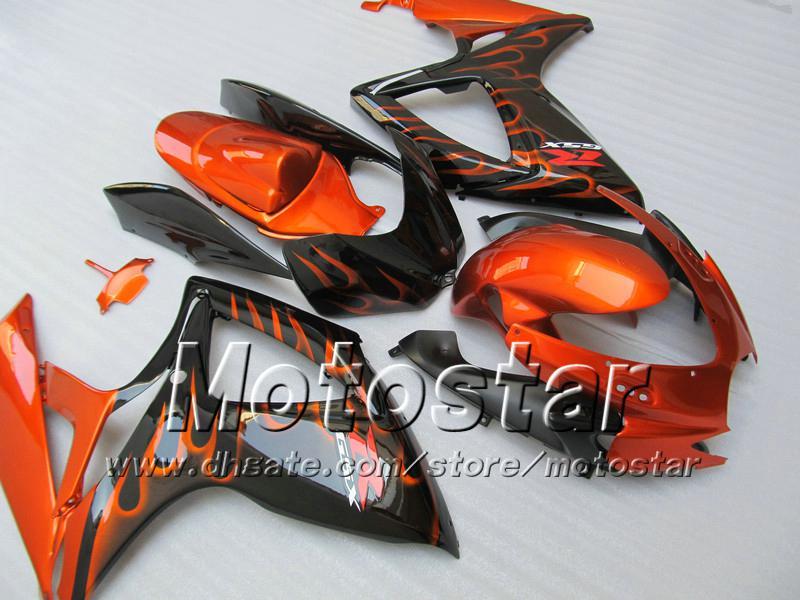 Carcaças de injeção para SUZUKI 2006 2007 GSXR 600 750 K6 GSXR600 GSXR750 06 07 R600 R750 chama laranja na carenagem preta WW94