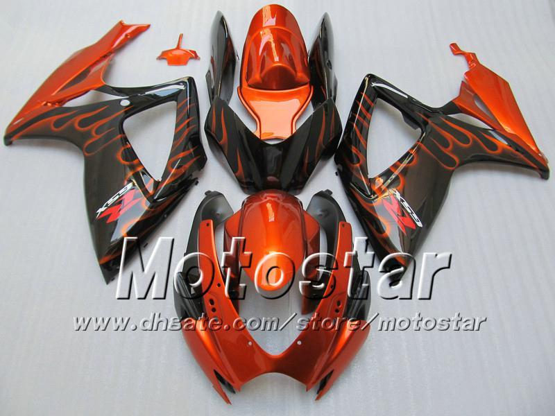 Einspritzverkleidungskörper für SUZUKI 2006 2007 GSXR 600 750 K6 GSXR600 GSXR750 06 07 R600 R750 orange Flamme in schwarzer Verkleidung WW94