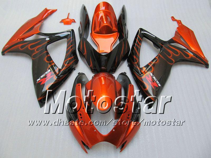 Injection fairings body for SUZUKI 2006 2007 GSXR 600 750 K6 GSXR600 GSXR750 06 07 R600 R750 orange flame in black fairing WW94