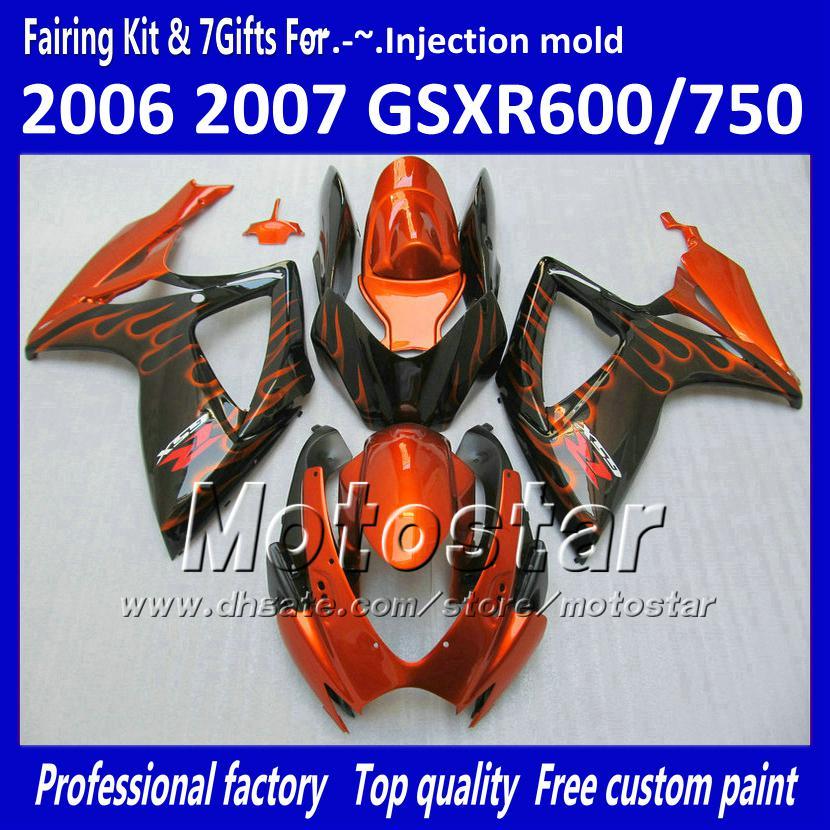 Cuerpo de carenados de inyección para SUZUKI 2006 2007 GSXR 600 750 K6 GSXR600 GSXR750 06 07 R600 R750 llama naranja en carenado negro WW94