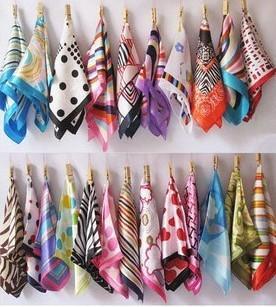 Lenços de seda atacado yiwu fábrica emulação direta de seda lenços quadrados pequenos 60 opcional DHL frete grátis
