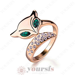Discount cocktail animals - Yoursfs Unique Lovely Animal Cute Fox Women Cocktail Charming Trendy Jewelry 18 k Rose Gold Plated Statement Rings with