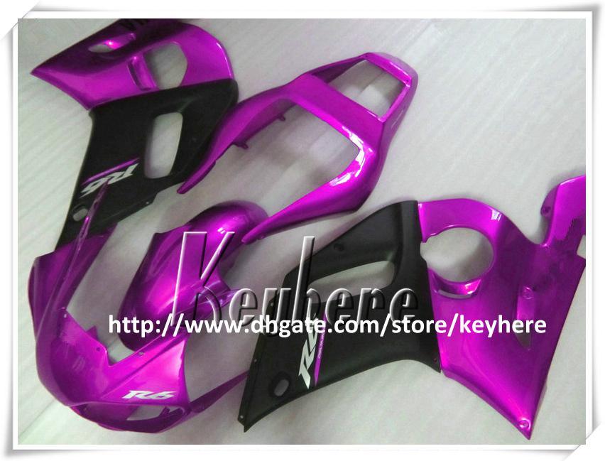 Kit de carénage 7 cadeaux gratuit pour YAMAHA YZF R6 1998 1999 2000 2001 2002 YZF600R YZFR6 98 99 00 01 02 carénage pièces de moto G4u violet noir