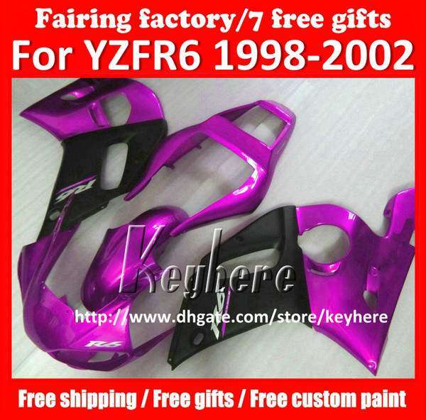 Free 7 gifts fairing kit for YAMAHA YZF R6 1998 1999 2000 2001 2002 YZF600R YZFR6 98 99 00 01 02 fairings G4u purple black motorcycle parts
