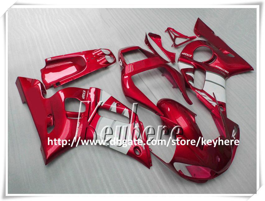 Kit de carénage 7 cadeaux gratuit pour YAMAHA YZFR6 1998 1999 2000 2001 2002 YZF-R6 YZF600R 98 99 00 01 02 carénage YZF-R6 kit carrosserie blanc vin rouge G9v