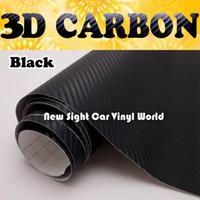 vinyl wraps für autos rollen großhandel-Hohe Qualität Schwarz 3D Carbon Fiber Film Schwarz 3D Carbon Fiber Vinyl Wrap Bubble Frei Für Auto Wraps Größe: 1.52 * 30m / Rolle