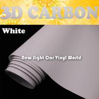 Wholesale car wraps white carbon fiber resale online - High Quality White Carbon Fiber Vinyl Sticker Air Free For Car Wraps Size m Roll
