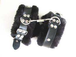 Wholesale Adult Sex Toys Leather Female - Black Furry Leather Bitch Handcuffs Wrist Cuffs BDSM Bondage Restraints Games Adult Sex Toys Slave Cosplay XLY838