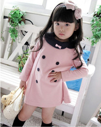 Wholesale Korean Baby Dress Sale - Retail 2013 New hot Sale Cotton Korean Kids Dress Double Breasted Baby Girl Princess Dress Long Sleeve Free Shipping A001