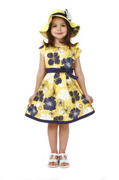 Wholesale Teenage Girls Yellow Dresses - New Girls dress Teenage dress Yellow with flower frock 5 sizes for about 5-14 years children