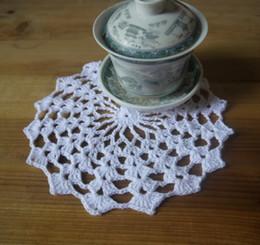 $enCountryForm.capitalKeyWord Canada - wholesale 100% cotton hand made crochet doily, lace cup mat vase mat, coaster 16x16cm table mat customization 20PCS LOT tm036