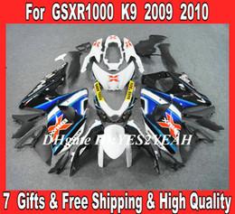 Wholesale Custom Suzuki Gsxr Fairings - Custom Fairings kit for 2009 2010 SUZUKI GSXR1000 GSX R1000 K9 09 10 GSXR 1000 white blue Fairing kits +7gifts SF21